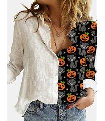camicetta patchwork con colletto rovesciato a maniche lunghe stampata a cartoni animati di halloween