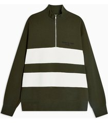 mens khaki 1/4 zip panelled sweatshirt