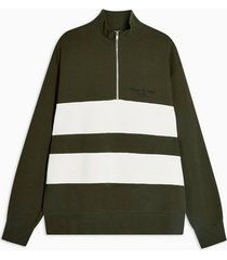 mens khaki 1/4 zip panelled sweatshirt