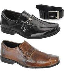 kit 2 pares de sapato social infantil couro e 1 cinto leoppé - masculino