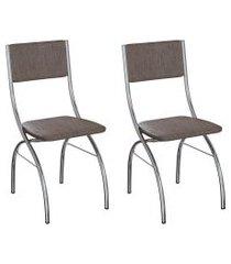 conjunto com 2 cadeiras dubbo marrom e cromado