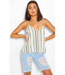 striped linen cami top, khaki