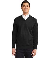 port authority sw300 men's v-neck sweater - black