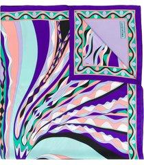 emilio pucci burle print silk-twill square scarf - purple