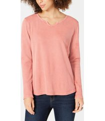 style & co split-neck cotton thermal top, created for macy's