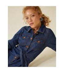 amaro feminino macacão jeans manga longa com amarração, azul escuro