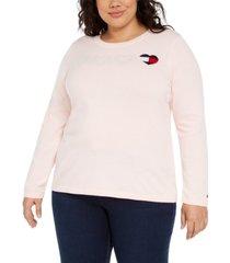 tommy hilfiger plus size heart logo cotton sweater