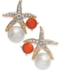 charter club gold-tone crystal and imitation pearl starfish earrings, created for macy's