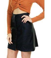 saia aha curta cintura alta lisa com abotoamento frontal e bolsos laterais 1 preto