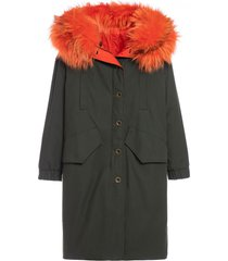 reversible boxy parka a-line with fox fur