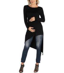 24seven comfort apparel full length long sleeve asymmetric hem maternity top