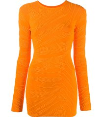 david koma stud-embellished fitted dress - orange
