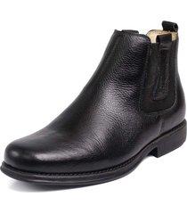 bota botina capiau confortável couro preto