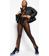 mesh broek met naaddetail en split, black