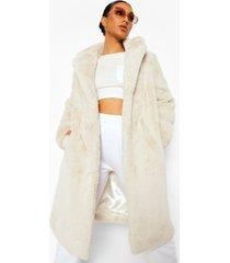 plush faux fur jas met ceintuur, natural