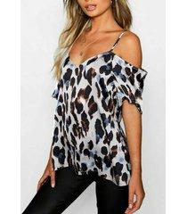 blanco sin espalda diseño blusa de manga corta con hombros descubiertos y leopardo