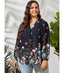 camicetta da donna con scollo a v manica lunga plus con stampa a farfalla floreale