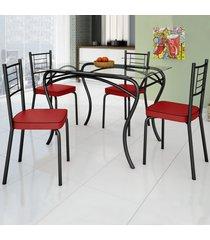 mesa de jantar 4 lugares lion juliana preto/ vermelho - art panta