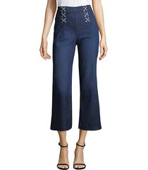 lace-up cropped jeans