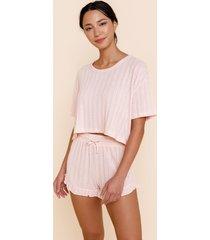 women's alicia pointelle pj shorts in blush by francesca's - size: l