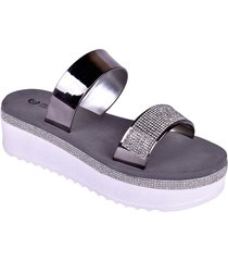 sandalias plataforma mujer plateado enrico coveri mary glitter