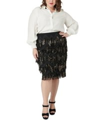 maree pour toi plus size sequined fringe skirt