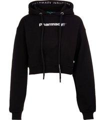 pharmacy industry woman short black hoodie with contrast pharmacy print