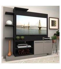 estante com painel p/tv até 55 polegadas e 2 portas porto multimóveis preto/lacca fumê