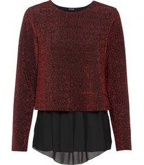 maglia glitterata con chiffon (rosso) - bodyflirt