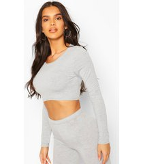 crew neck long sleeved crop top, grey