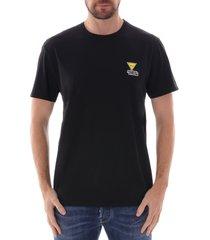 maison kitsune triangle fox patch t-shirt |black| 129kj08-blk