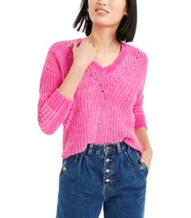 bar iii chenille v-neck sweater, created for macy's