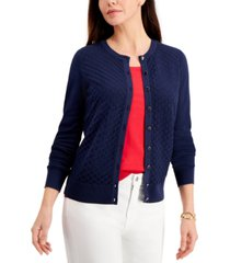 charter club petite peacock-stitch cardigan, created for macy's