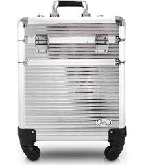 maleta profissional 2 andares com rodinhas de 360º aluminio jacki design beauty prata