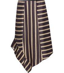 skirt in jacquard stripes w. asymme knälång kjol brun coster copenhagen