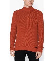 only & sons onsroland 7 structure high neck kni tröjor röd