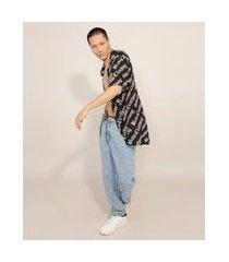 calça baggy jeans cintura média com cordão azul médio