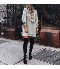 zanzea manga larga de las tapas ocasionales de la camiseta del cuello barco mini vestido de camisa gris -gris