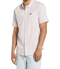rvca that'll do solid short sleeve button-down shirt, size x-large in pale mauve at nordstrom