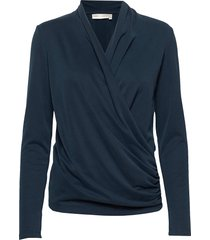 alanoiw wrap blouse blus långärmad blå inwear