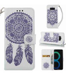 galaxy s8 case,xyx [dreamcatcher - purple] wallet folio leather phone case cover