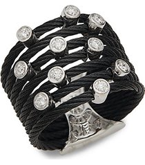 18k white gold, diamond & black stainless steel cable ring