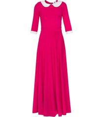 sukienka długa z kołnierzykiem różowa