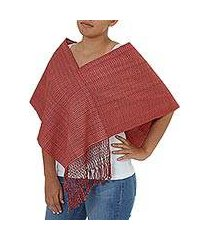 cotton poncho, 'crimson nahua' (mexico)