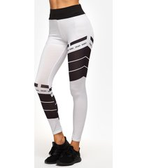 white grid printed high-waisted active bottoms yoga pants