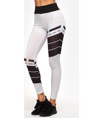 pantalones de yoga de cintura alta con estampado de cuadrícula blanco