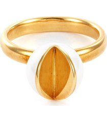 'wedge' freshwater pearl 18k yellow gold ring