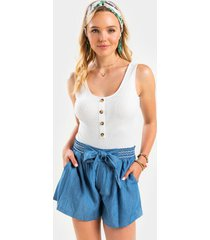 malorie tie front chambray shorts - chambray