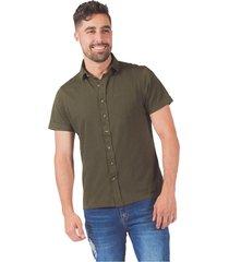 camisa pmp slim manga corta tejido de punto verde militar