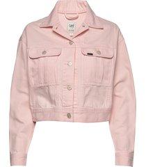 cropped jacket jeansjack denimjack roze lee jeans